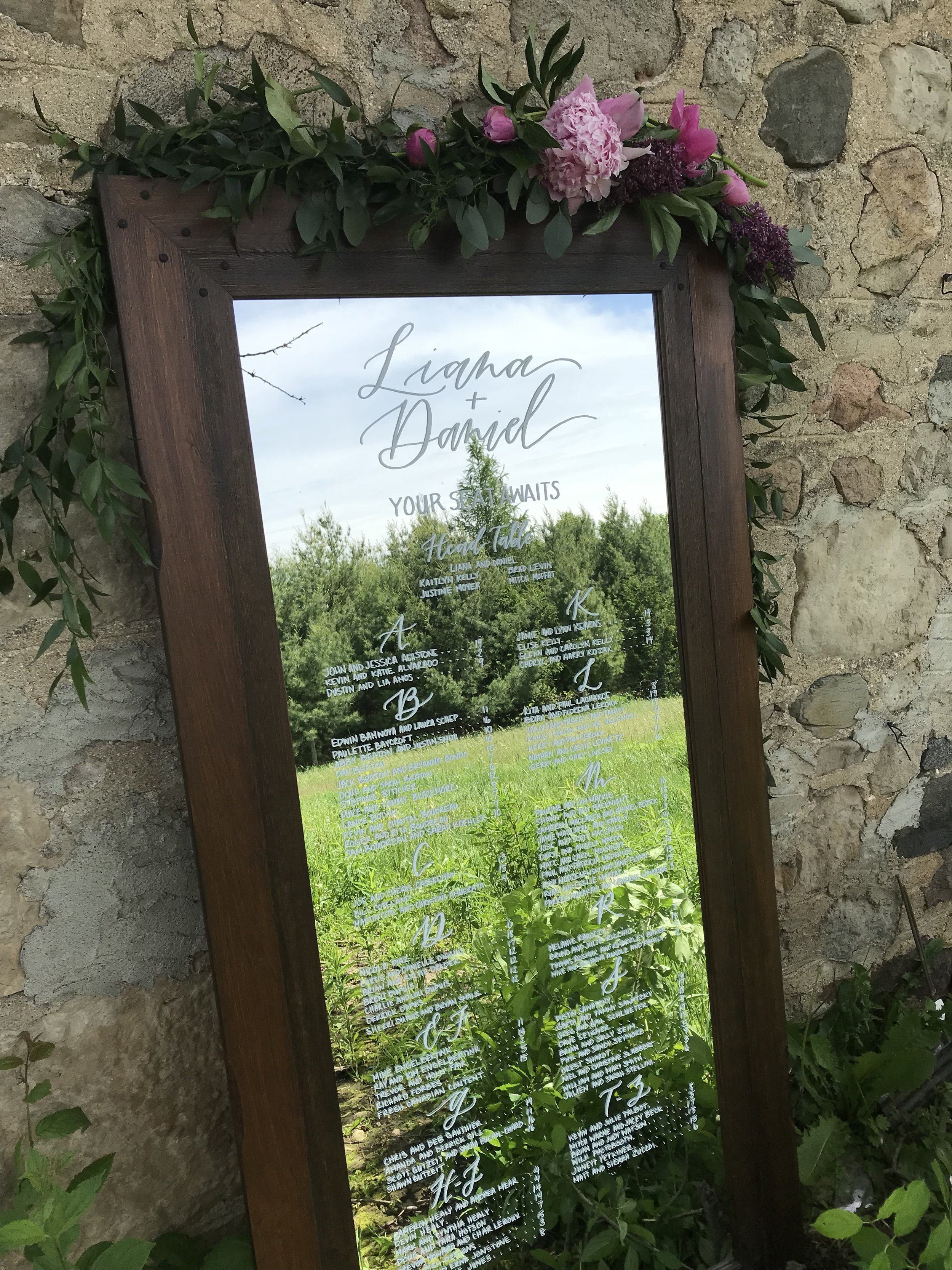 Calligraphy Guelph wedding mirror seating chart with flowers