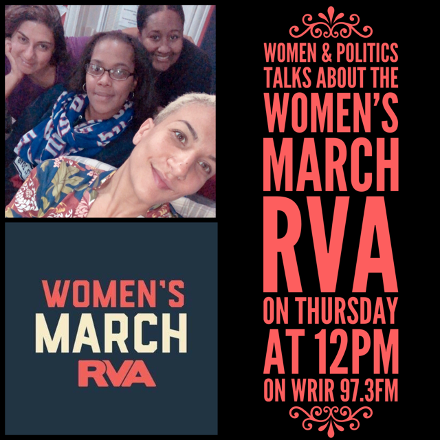 #WomenAndPolitics  talk with the organizers of the  #WomensMarchRVA  on how being a  #womxn  is  #political to all three women of color who joined me on the mic!⠀ ⠀ Big thanks to Seema Sked, Aljanette Hall, Monica Hutchinson as well as all the organizers and volunteers for re-shaping the narrative of our hometown march!⠀ ⠀  #WMRVA   #March   #Inclusive   #radio   #voices   #solidarity   #women   #men   #trust  #black   #brown   #white   #RVA