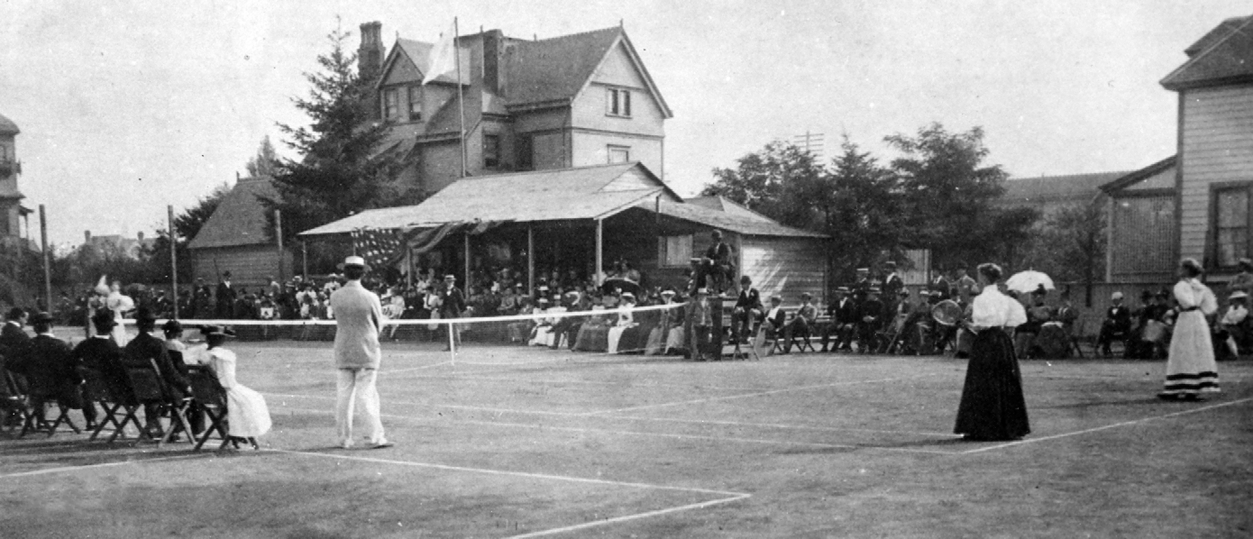 The Washington State Open at the original location of the Olympic Tennis Club on Madison Street and Minor Avenue in 1895.