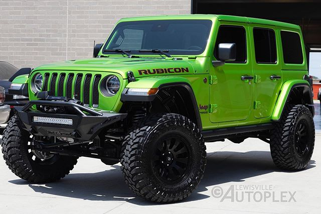 """2019 Jeep Wrangler Unlimited Rubicon with a 3.5"""" Rubicon Express lift kit with Rubicon Express 2.5 shocks, 18"""" Fuel off-road wheels, Toyo Open Country M/T tires (35X12.50R18LT), ADD Stealth Fighter front bumper with LED light bar and winch, Fox steering stabilizer and more.  #customjeep #liftedjeep #autoplexcustoms #lewisvilleautoplex #fueloffroad #toyo #addbumpers #jeep #rubicon #4x4 #offroad #rubiconexpress"""