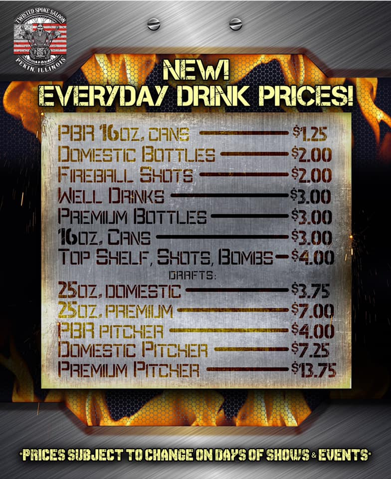 Drink Prices Twisted Spoke Saloon Live Music Pekin Peoria