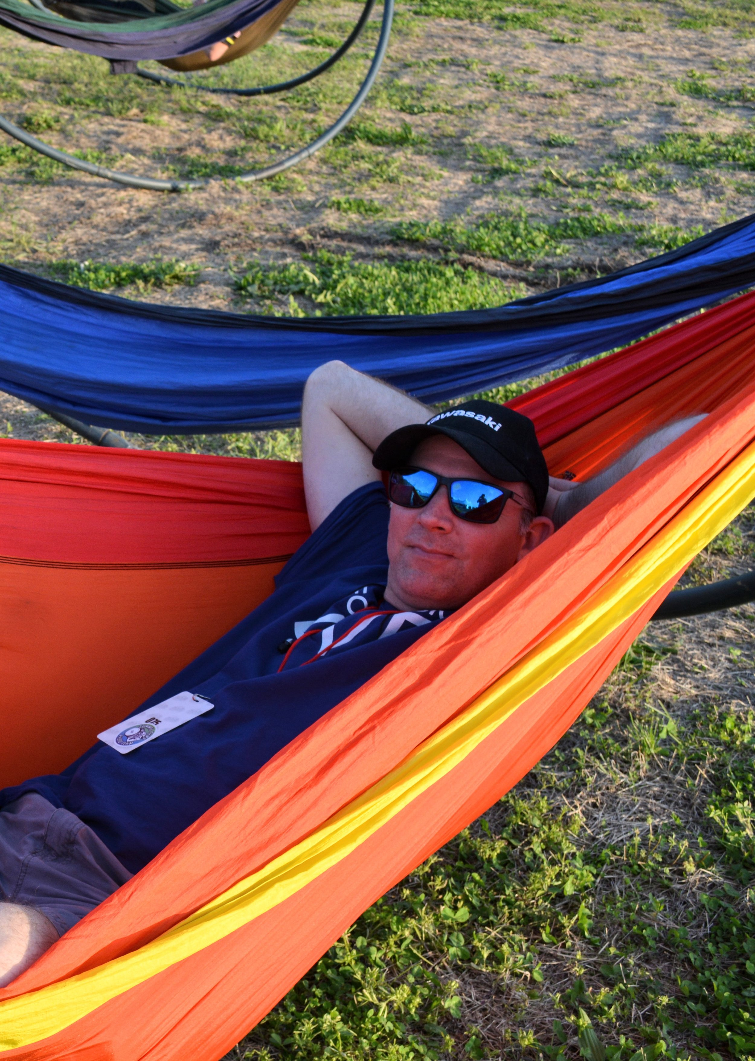 Mike trying out the hammocks.