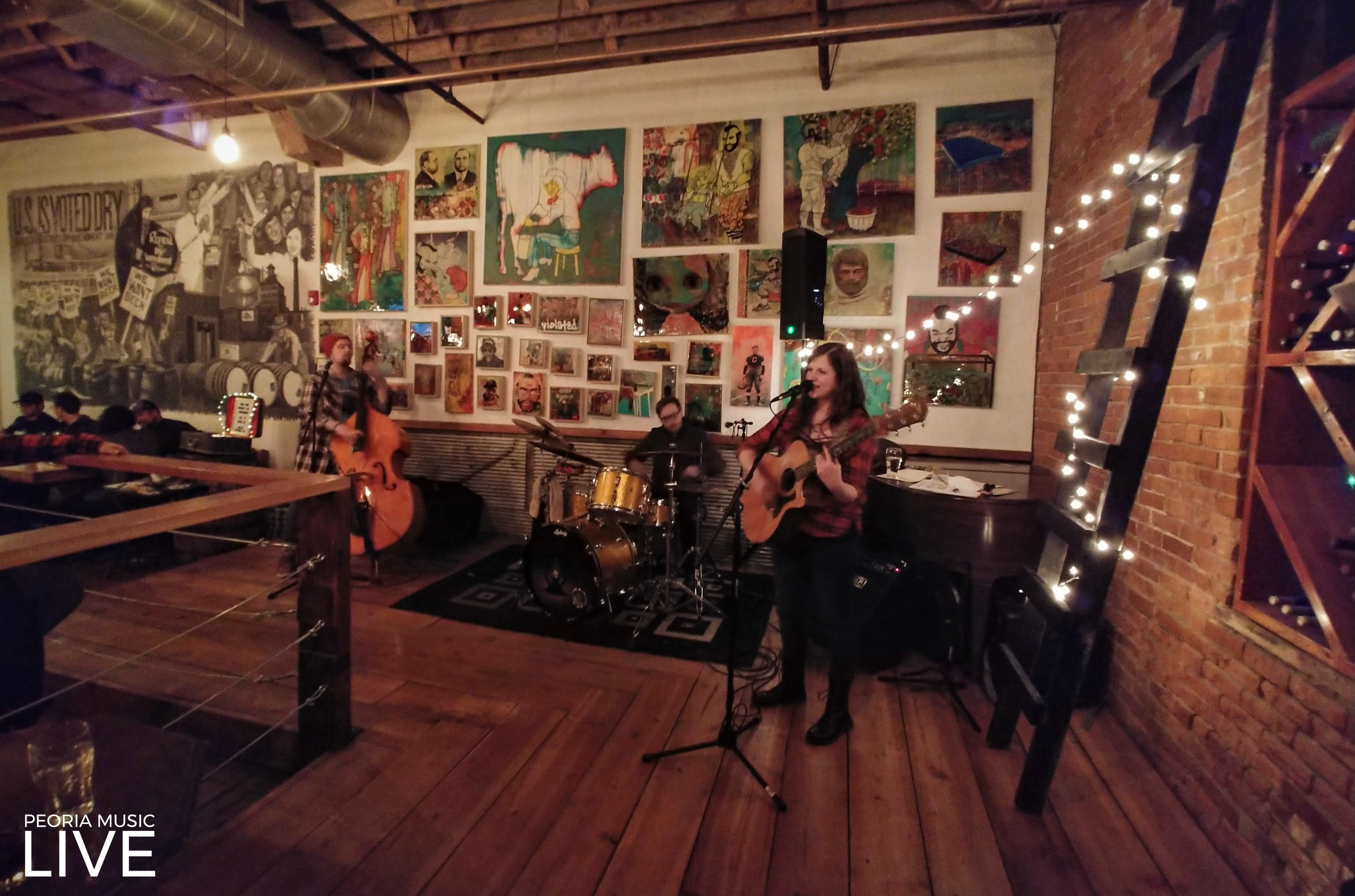 Sarah & The Underground performing at Tannins & Hops in March of 2019