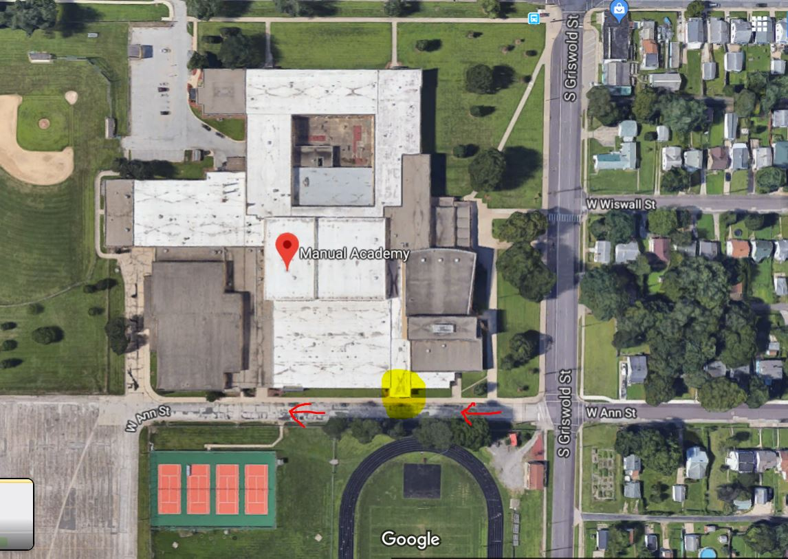 Our Free Little Pantry can be found at Manual High School, at the Ann St entrance. Note the RED ARROWS on the map I've included. This is a ONE WAY street. After stocking the pantry, you will have to continue west on W Ann St and go around the block to leave the area. The area highlighted yellow is where you will find the pantry.