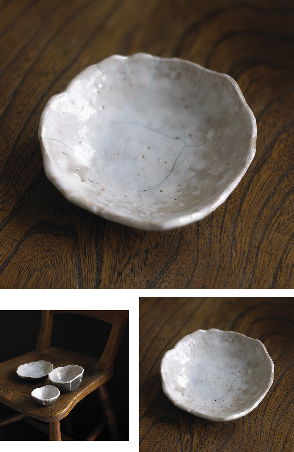 Heavily grogged Raku clay fired with white glaze then reduced in reduction bin with dried leaves