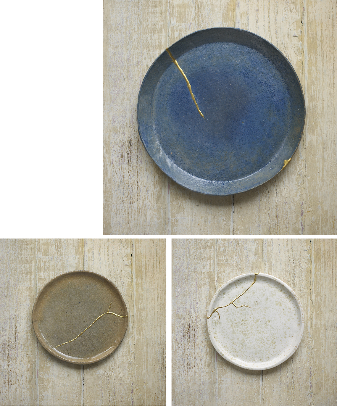 Kintsugi 'Golden Joinery'  The Japanese art of repairing broken pottery by mending the cracks or breakage with lacquer ( or in my case epoxy resin ) which is mixed with powdered gold or silver . it allows the damage to be seen as a valuable part of the history of the piece.