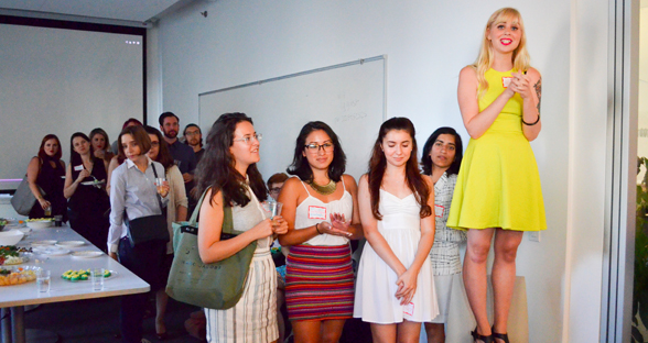 Photo: Erin introduces the Dream, Girl Kickstarter video at their launch party hosted by NY Tech Meetup & Control Group.