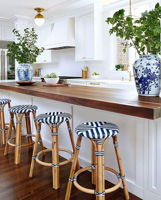 design & photo:  reference link  … classic pattern pop adding huge personality… bonus that this stool has the option of fully hiding under the overhang, for ease of serving from all sides!