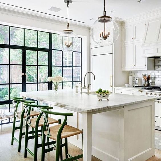 design & photo:  reference link  … the perfect color and textural pop to an otherwise classic neutral kitchen.