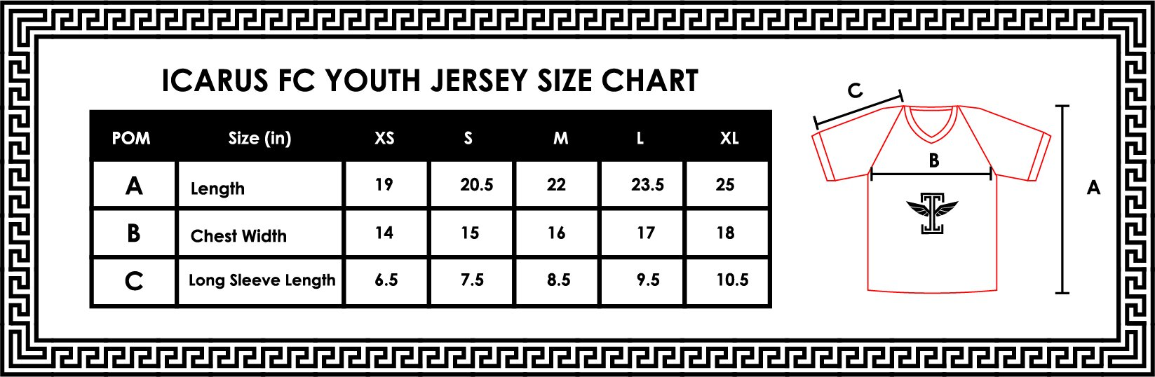 youth jersey size chart