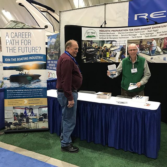 The #ENYMTA out at the @thegreatupstateboatshow promoting the growth of education resources for our marine trades! Stop by and say hi to Roger Phinney this weekend and learn more about the CVTECH program