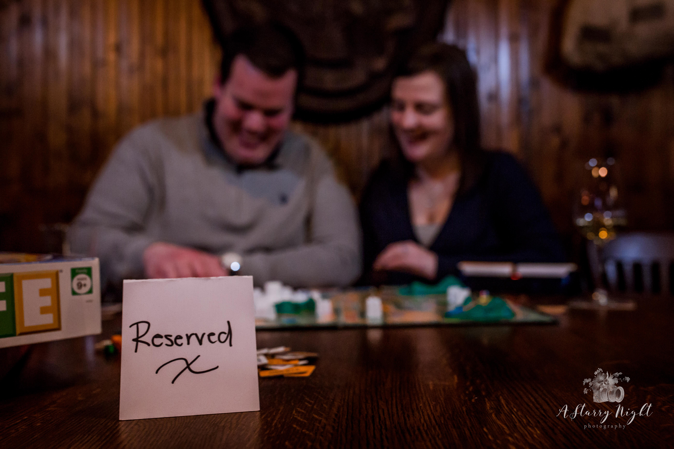 This table is reserved for love and this couples engagement session over in Mount Pleasant, MI at Mountain Town Station.