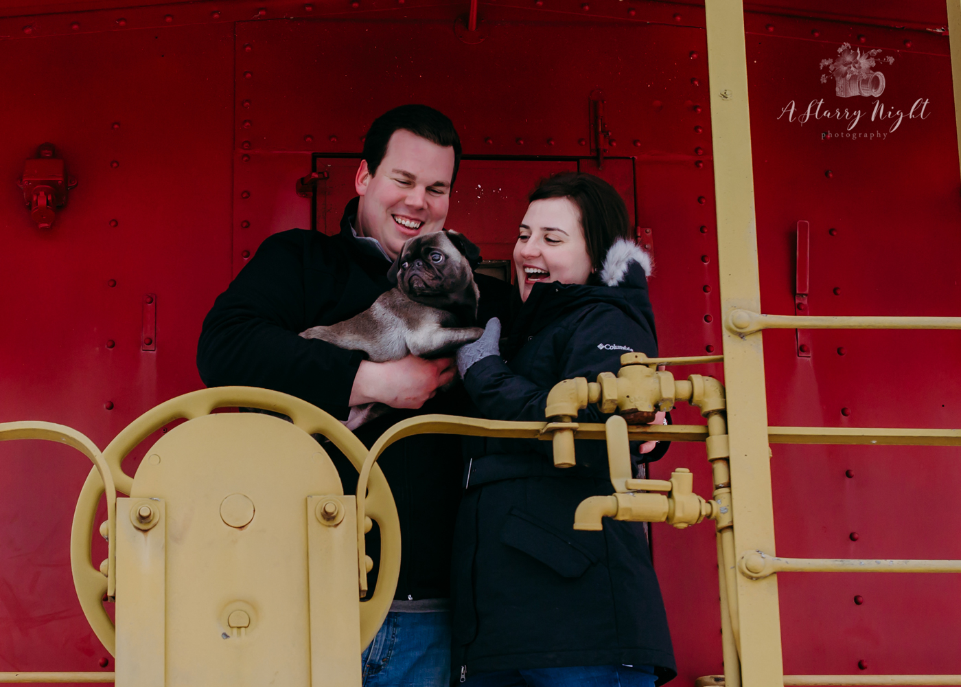 Couple-and-Pug-Smiling-Clare-Caboose.jpg