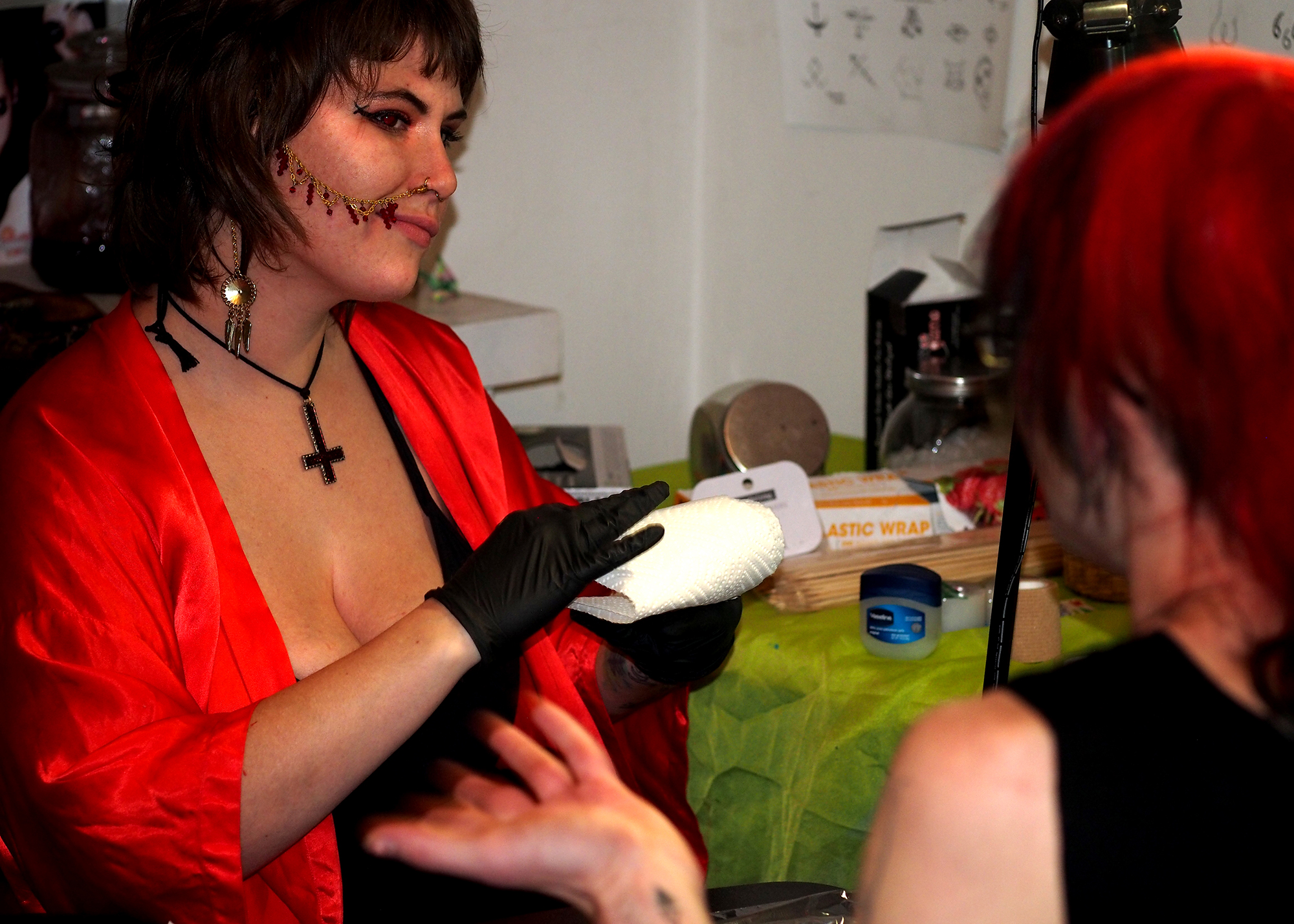 Merry Jo Carter , curator of Cat Castle was tattooing all night!
