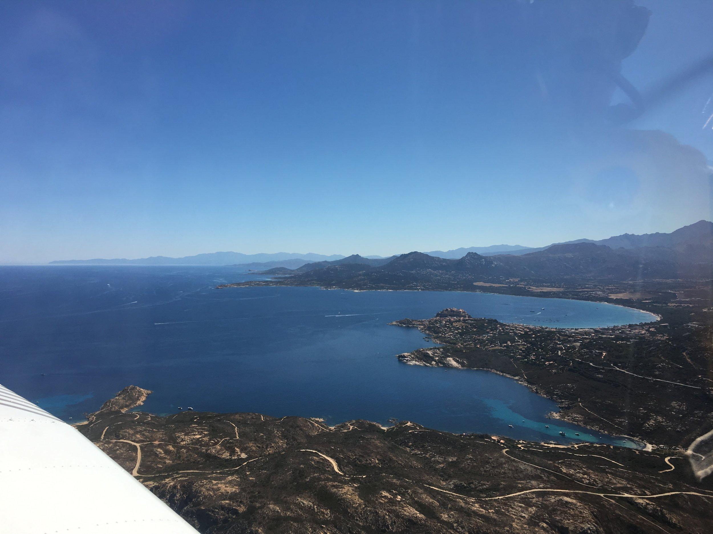 Flying into Calvi, Corsica