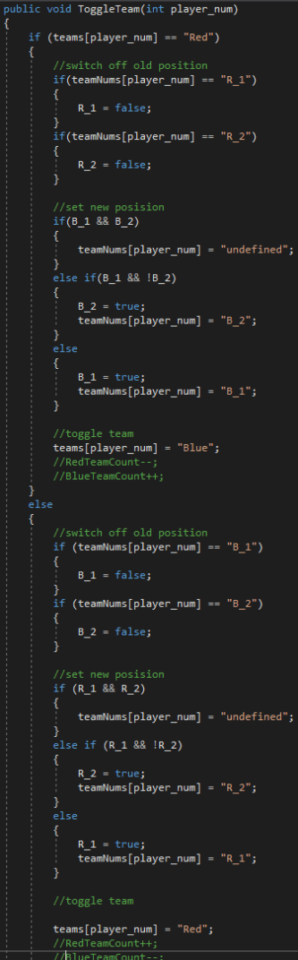 Logic for toggling team