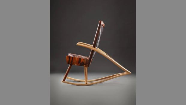 A rocking chair made by Mark Whitley from his studio in Smith Grove, Ky., a small town near Mammoth Cave.