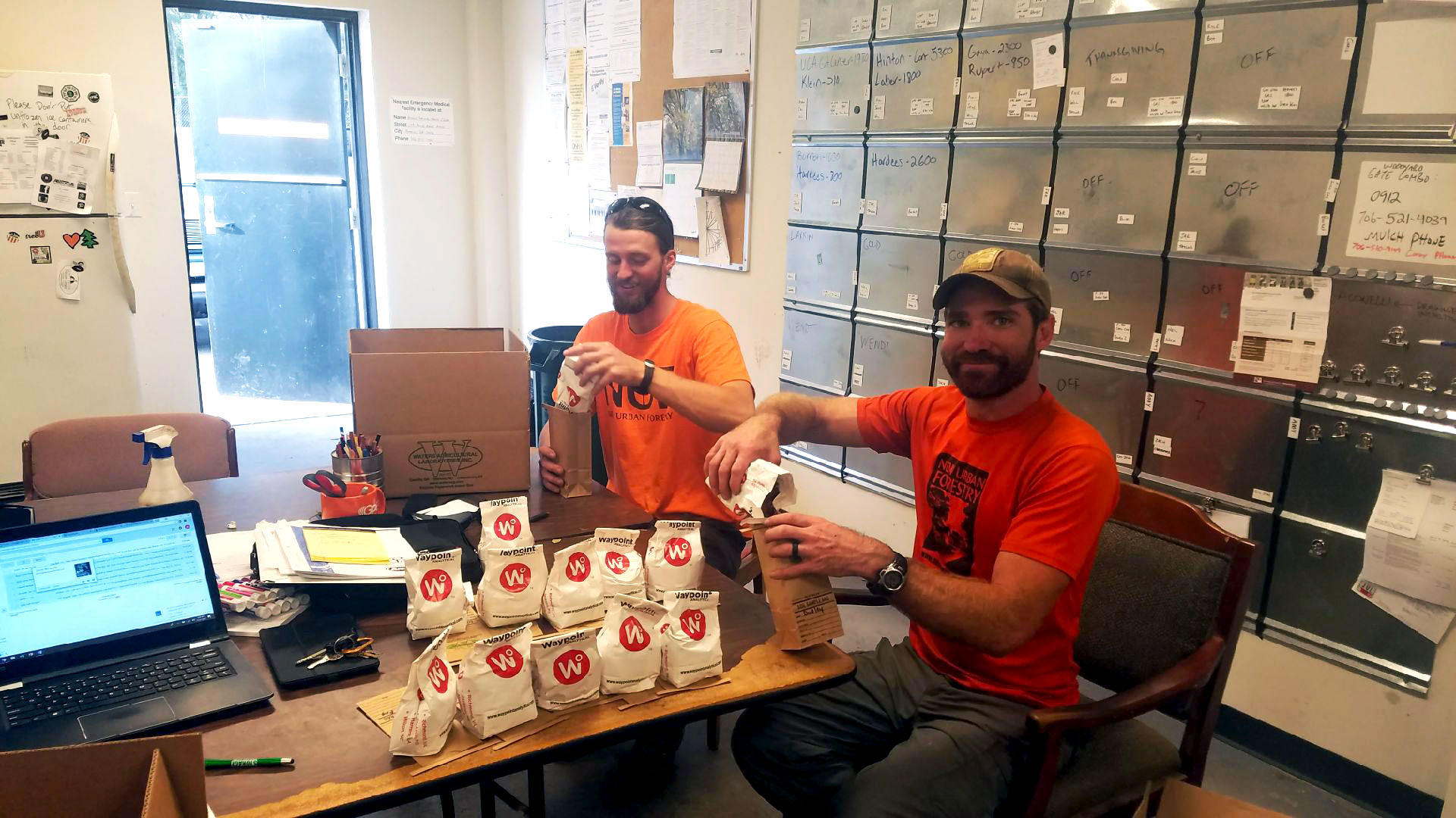 John-Ashley and Taylor preparing to ship off soil samples for nutrient analysis.