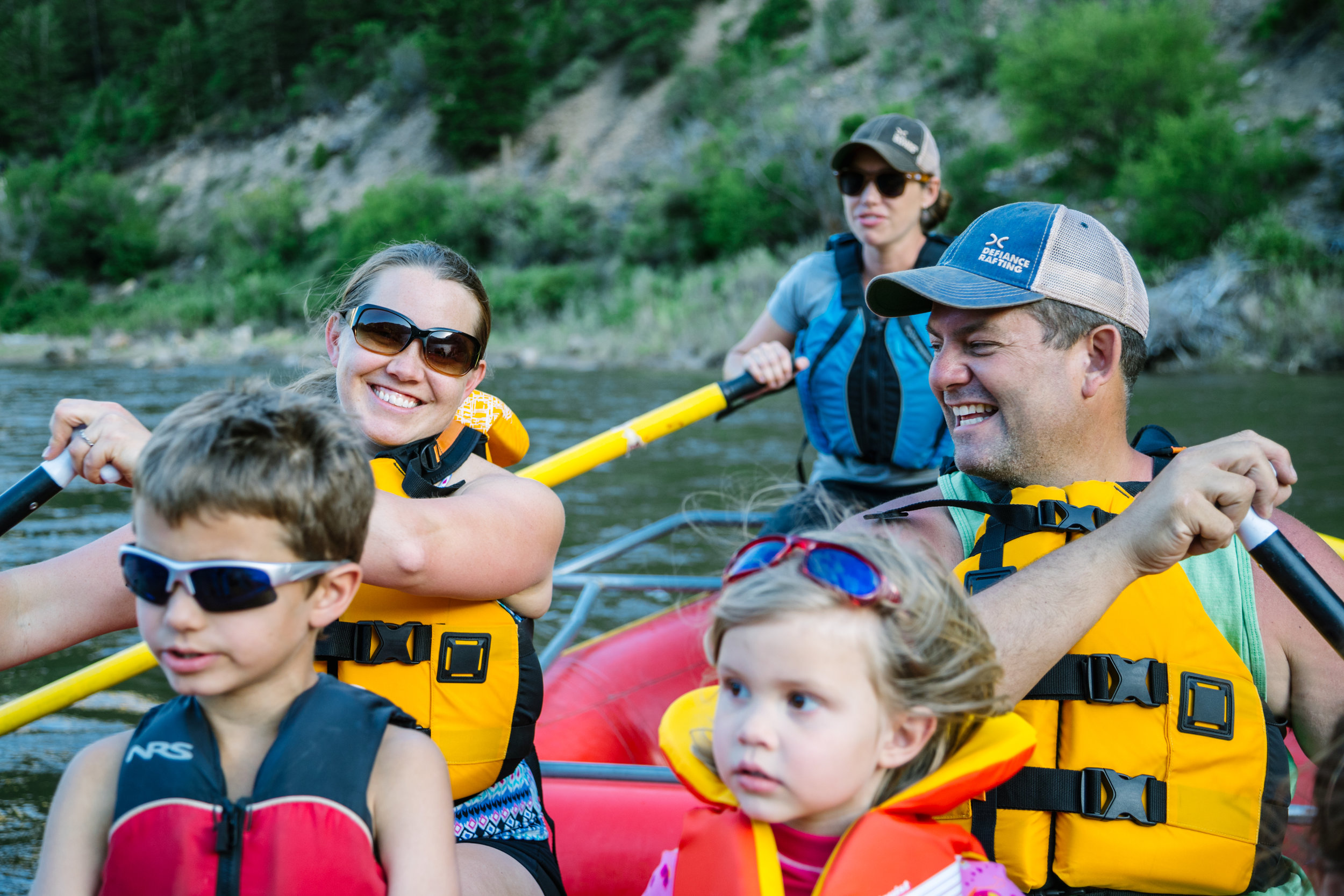 Family time on the Lower Roaring Fork River with Defiance Rafting Company.
