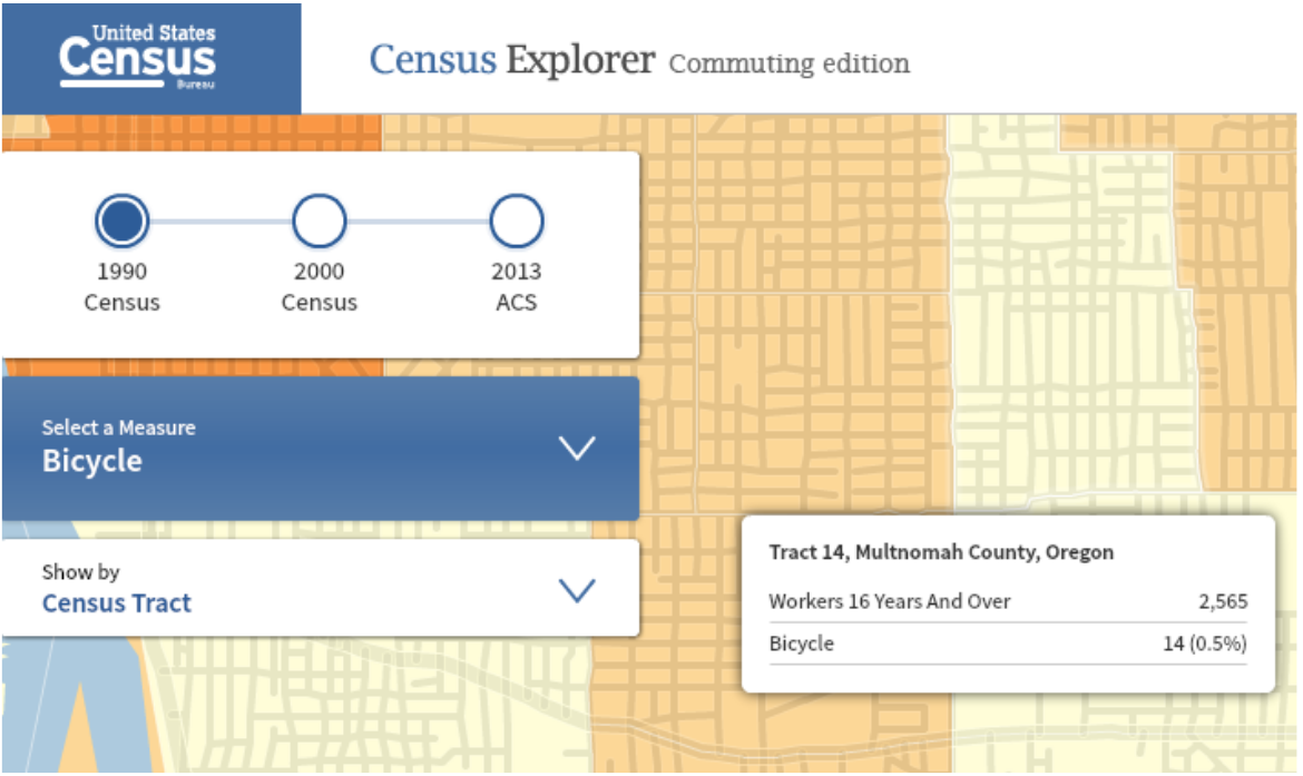 1990 Census Bicycle Mode Share