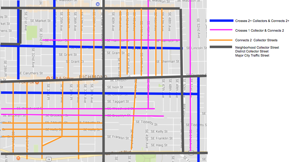 Blue streets are non-neighborhood collector streets that connect at least 2 neighborhood collectors.