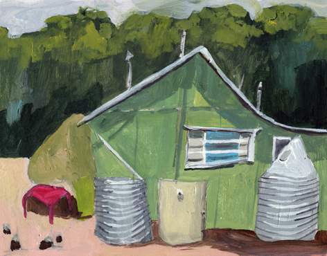 Sue Michael,  Older Beach Shack Plein Air Sketch, Second Valley, South Australia,  2013, acrylic on board, 20 x 30 cm