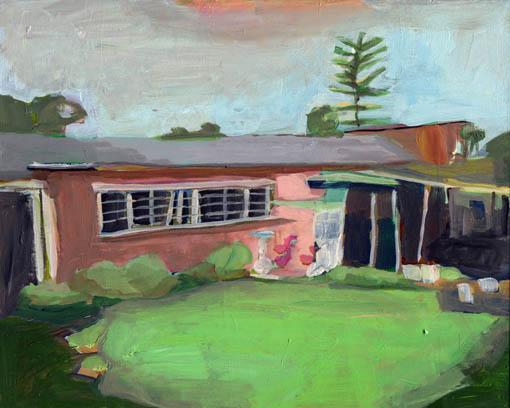 Sue Michael,  Flamingo Front Yard, Broadview,  2016, acrylic on board, 20 x 25 cm
