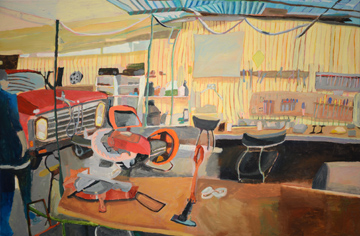 Sue Michael,  Family Shed, left panel, 2014, acrylic on canvas,  60 x 90 cm