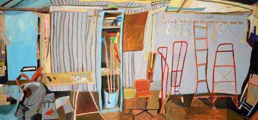 Sue Michael,  Family Shed, mid panel,  2014, acrylic on canvas, 60 x 126 cm