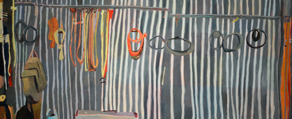 Sue Michael,  family Shed, right panel,  2014, acrylic on canvas, 60 x 144 cm