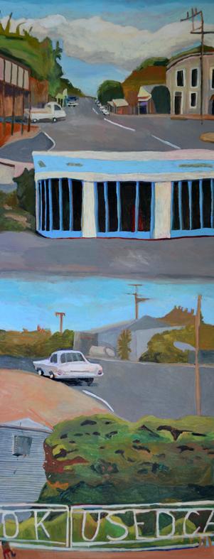 Sue Michael,  Township of Eudunda, South Australia,  2019, acrylic on canvas, 61 x 152 cm