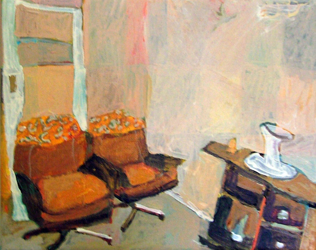 Sue Michael,  Lounge Chairs,  2012, acrylic on canvas, 20 x 30 cm
