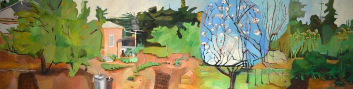 Sue Michael,  Eudunda Backyard,  2015, acrylic on canvas, 60 x 216cm