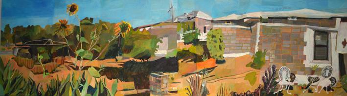 Sue Michael,  Booleroo Backyard panel 2 of 3,  2014, acrylic on canvas, 60 x 212 cm