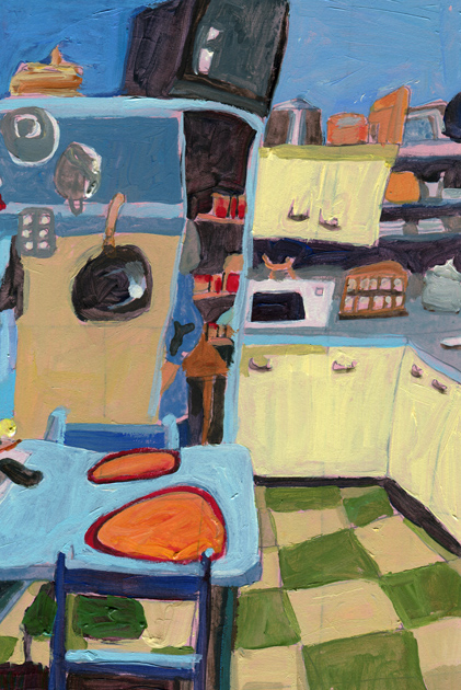 Sue Michael,  Sketch of Added Pantry Cupboard, Peterborough,  2015, acrylic on oil sketch paper, 20 x 30 cm