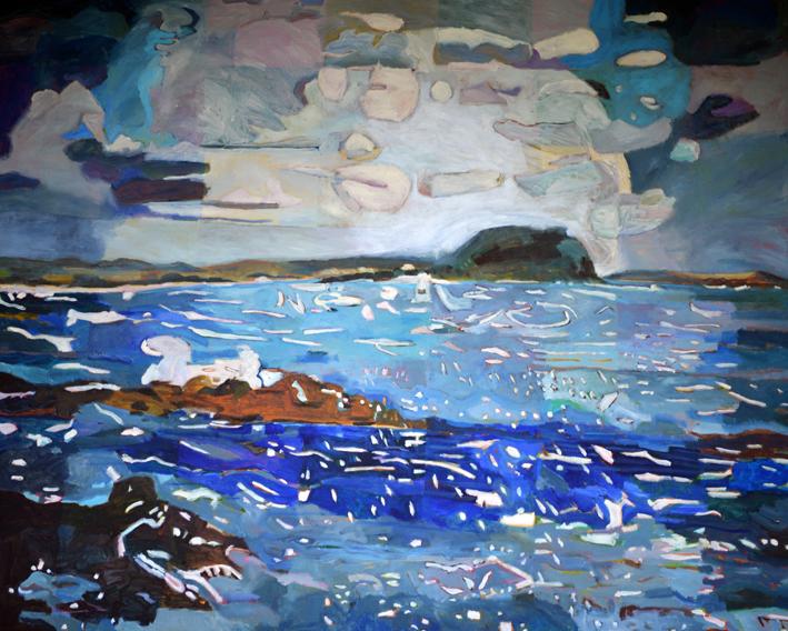 Sue Michael,  The Restless Sea,  2017, acrylic on canvas, 120 x 150 cm