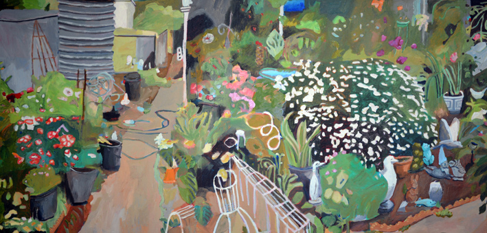Sue Michael,  Eudunda Ornamental Front Yard,  2019, acrylic on canvas, 60 x 120 cm