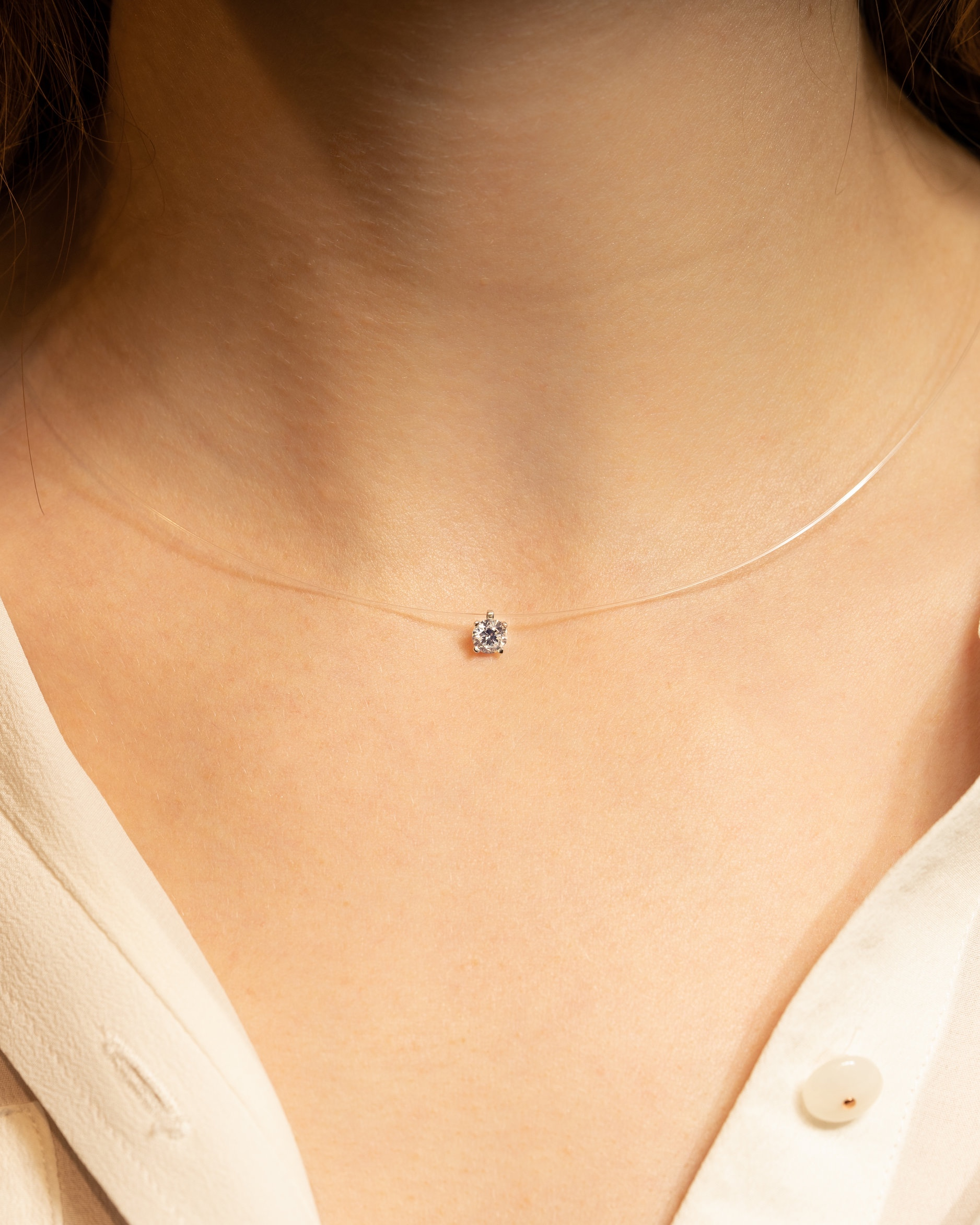 collier diamant sur fil
