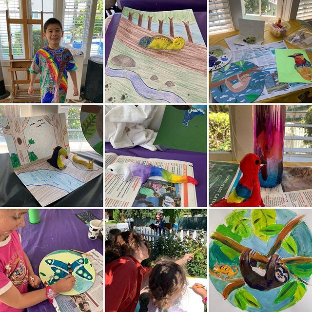 Summer 🖼 Camp week 2 Rainforest.  Thank you to all the student Artist. Big thank you Jennifer Wolpert& Logan Harada🐊#lafayetteca #localart #summerartcamp #rainforest