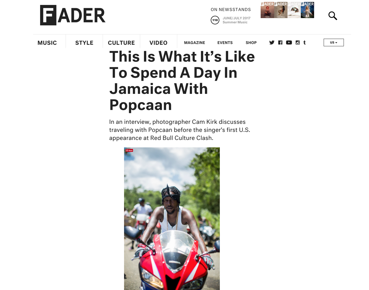 Popcaan for The Fader & Redbull, August 2017    ( click to see more )