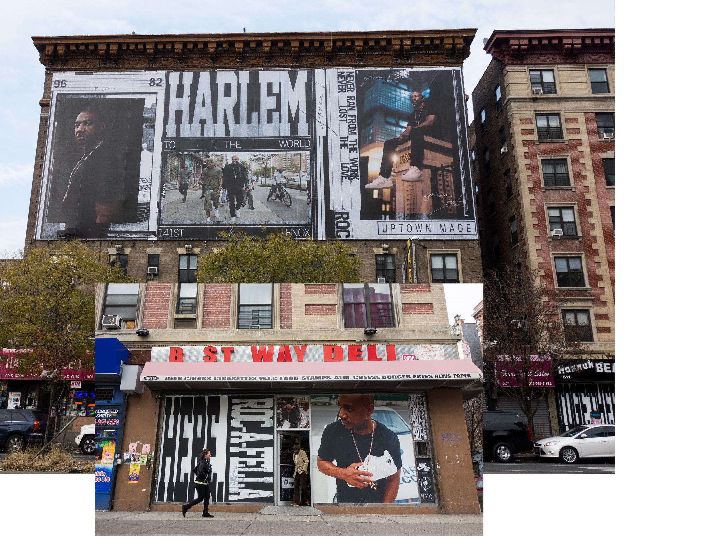 """Kareem """"Biggs"""" Burke for Nike AF100 Campaign, """"Harlem to the World"""" Installation, Harlem, NY, 2017"""