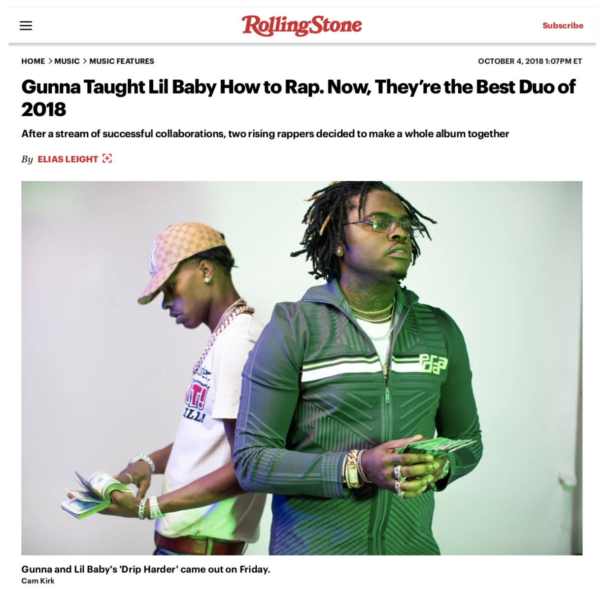 Rolling Stone Gunna & Lil Baby - October 2018