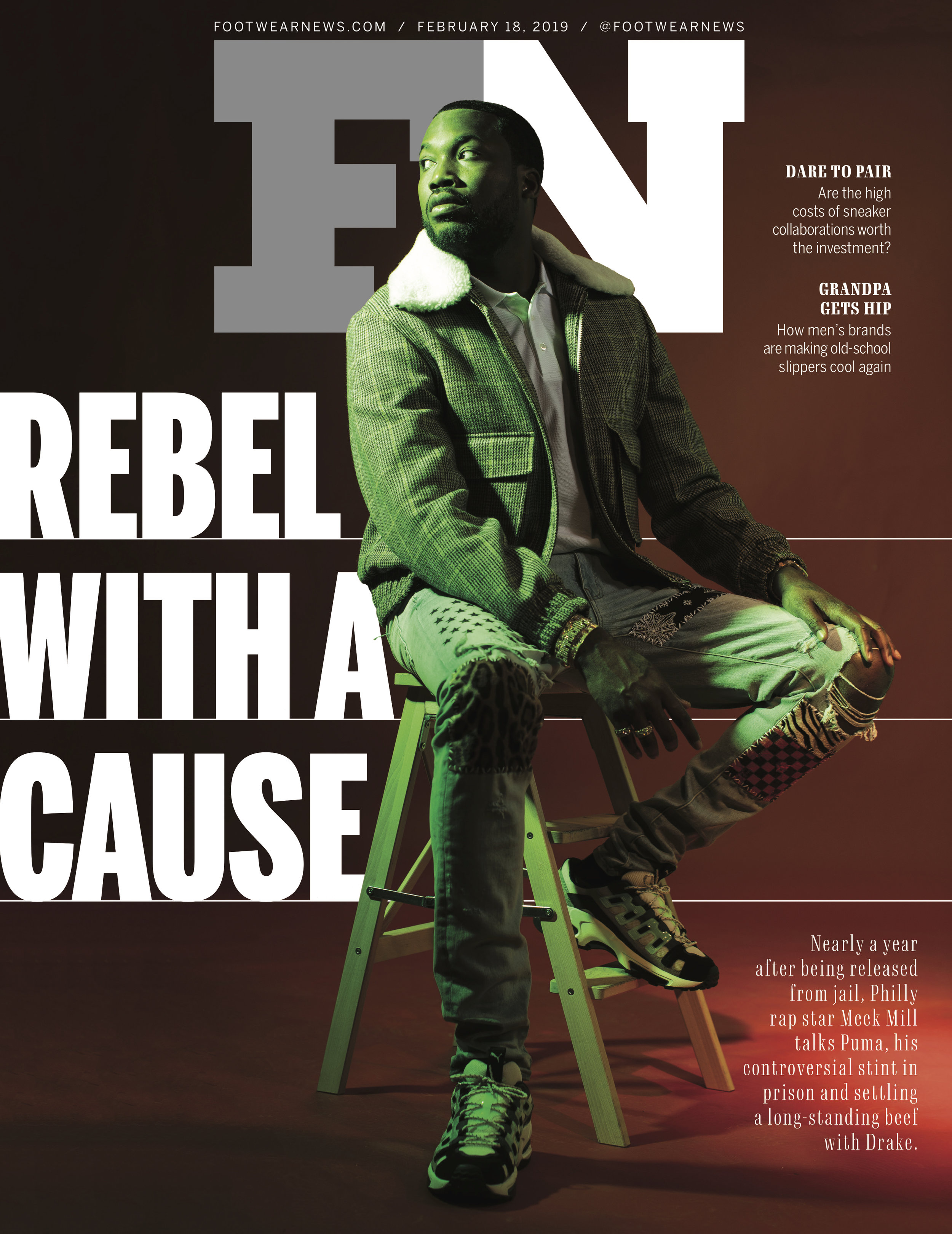 Meek Mill for Footwear News, Feb. 2019     (click to see more)