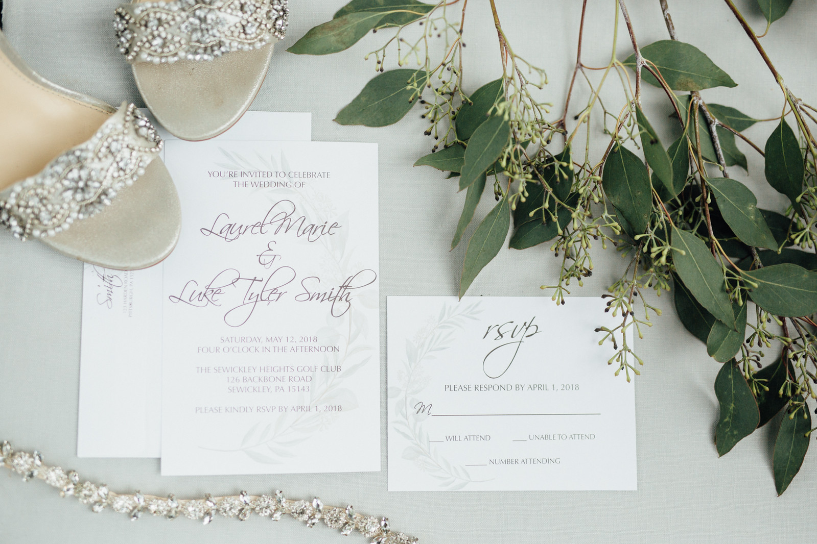 Wedding invite and RSVP card