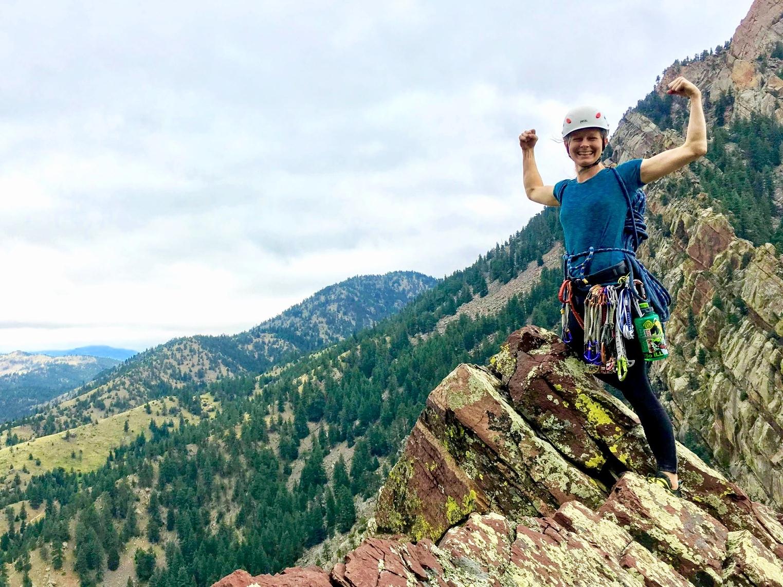 Becky Howie Climbing in Eldorado Canyon