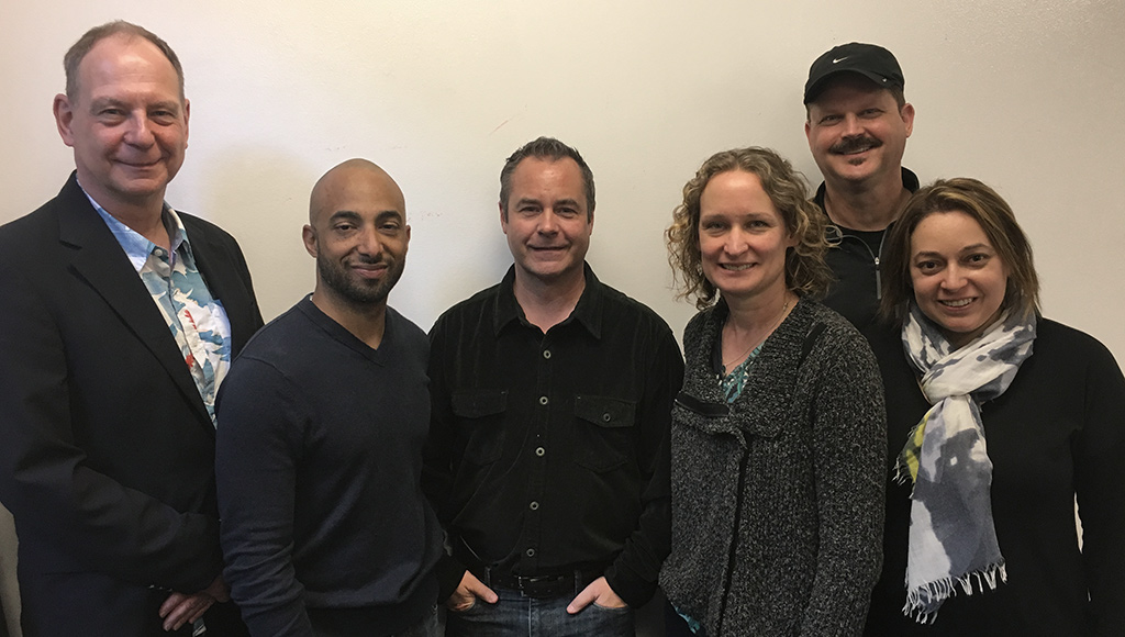 From Left: Ralf Wiebeck, Moses Feliz (UX Designer at AccelOne), Scott Craig (CEO of AccelOne), Christine Adrian, Dave Land (Advisor at AccelOne), Jenny Pinzur.