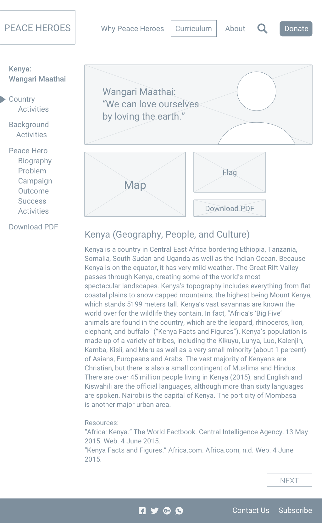 Curriculum landing page