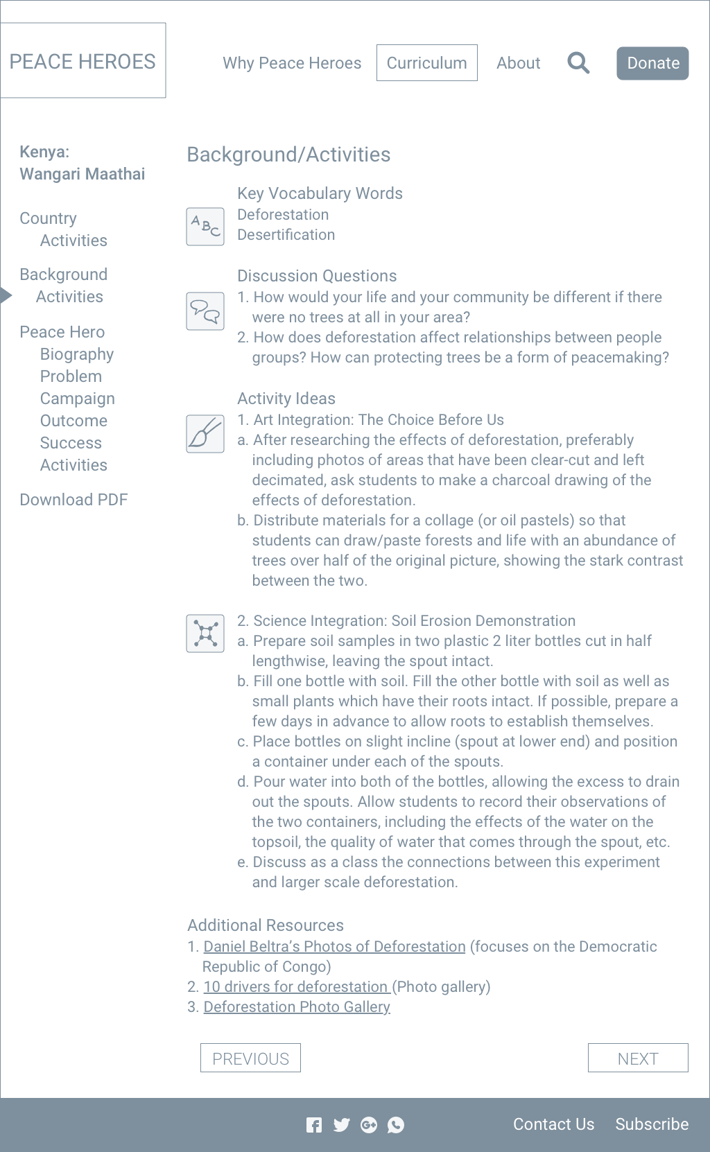 Curriculum activities page