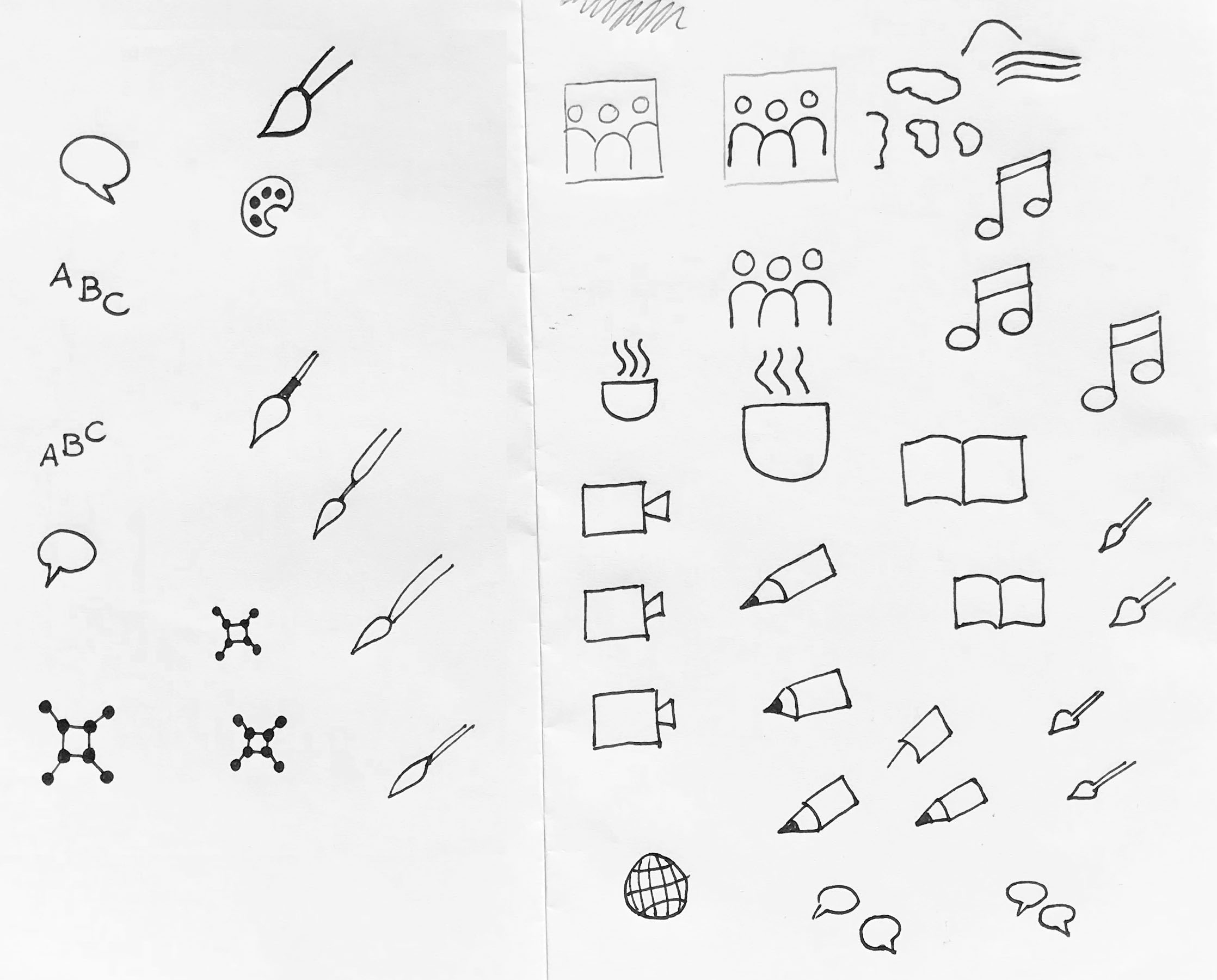 Icons for different student activities