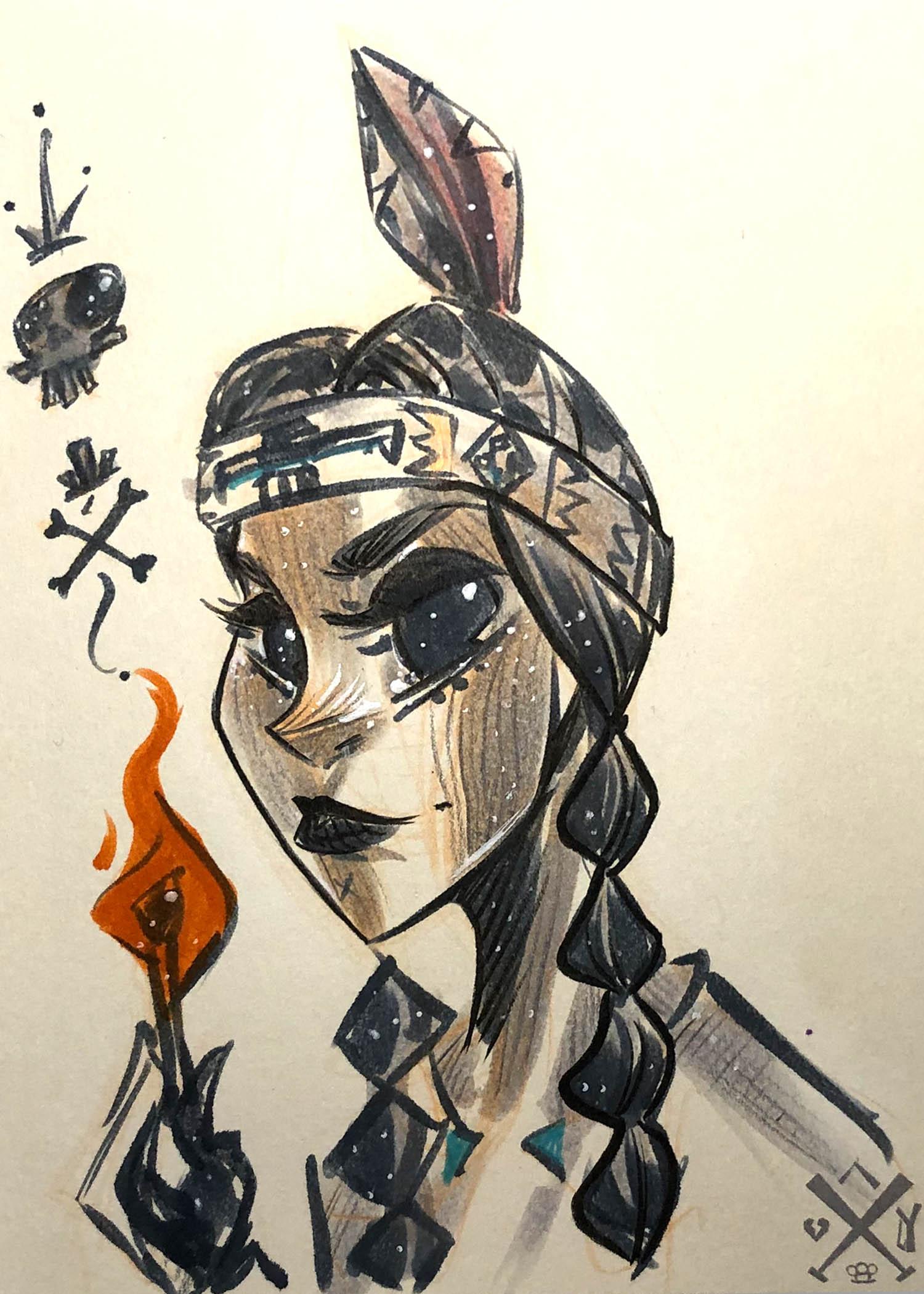 original sketch smoke cards illustrations from nooligan. (super rare pull) - Original sketch cards